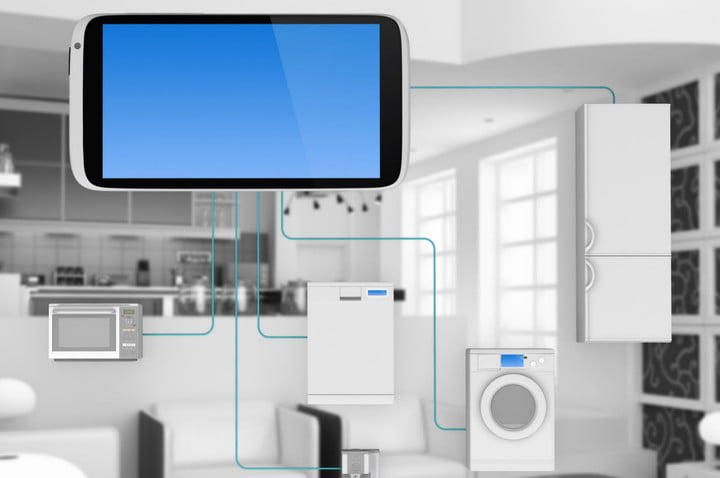 internet of things open connectivity foundation concept  home appliances connected to smartphone