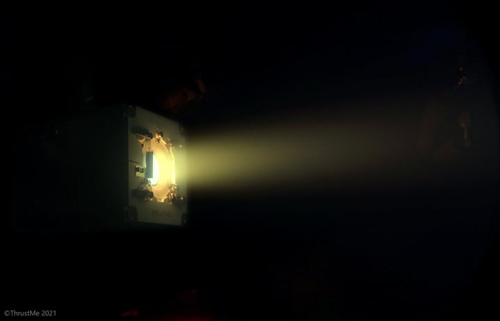 A depiction of the iodine thruster developed by ThrustMe being used to change the orbit of a small satellite.