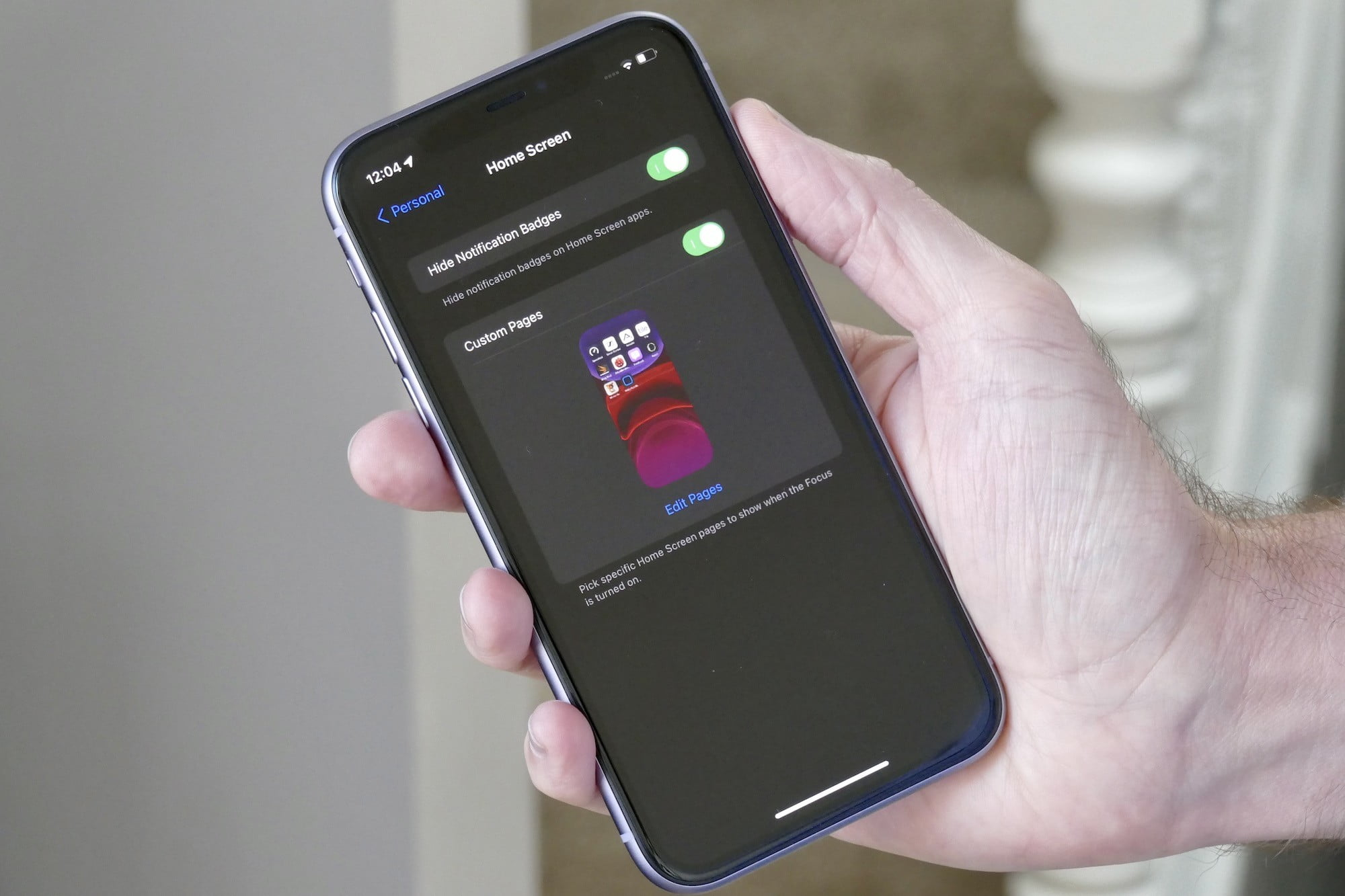 Select Home screens in Focus on iOS 15.