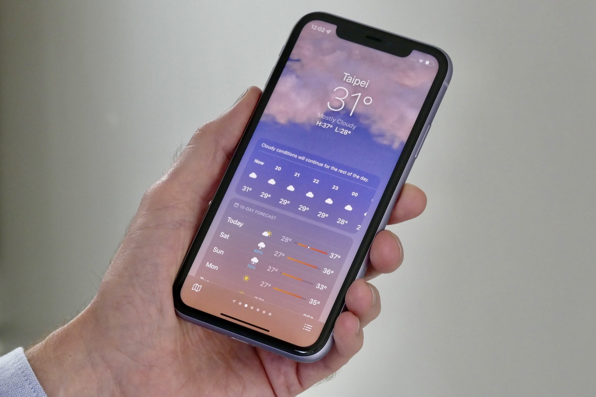 Cloudy weather showing in iOS 15's weather app