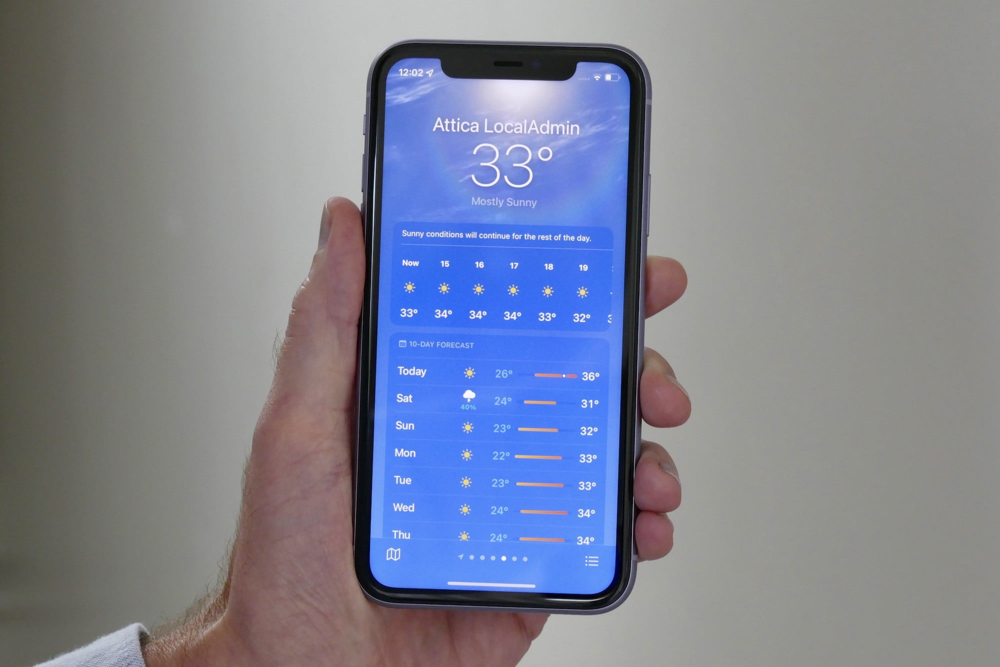 Sunny weather showing in iOS 15's weather app