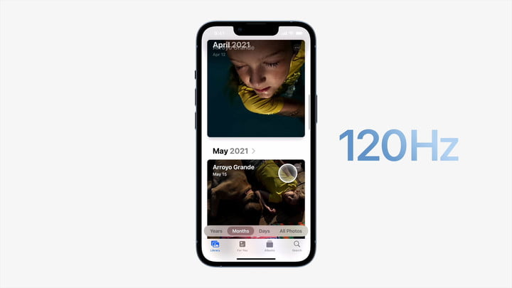 Apple's iPhone 13 Pro showing ProMotion in action running at up to 120Hz.