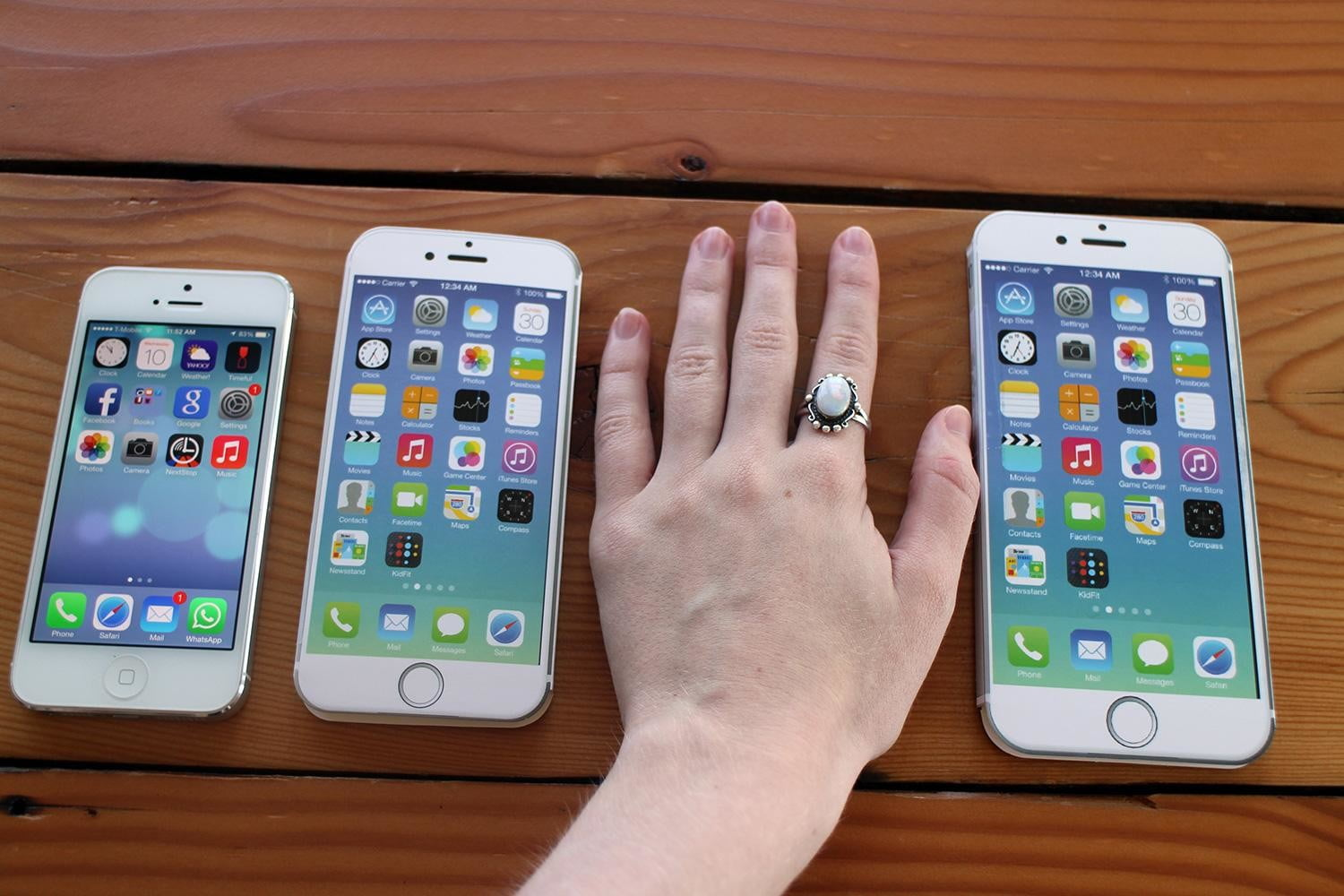 iPhone 5, iPhone 6, hand, and iPhone 6 Plus