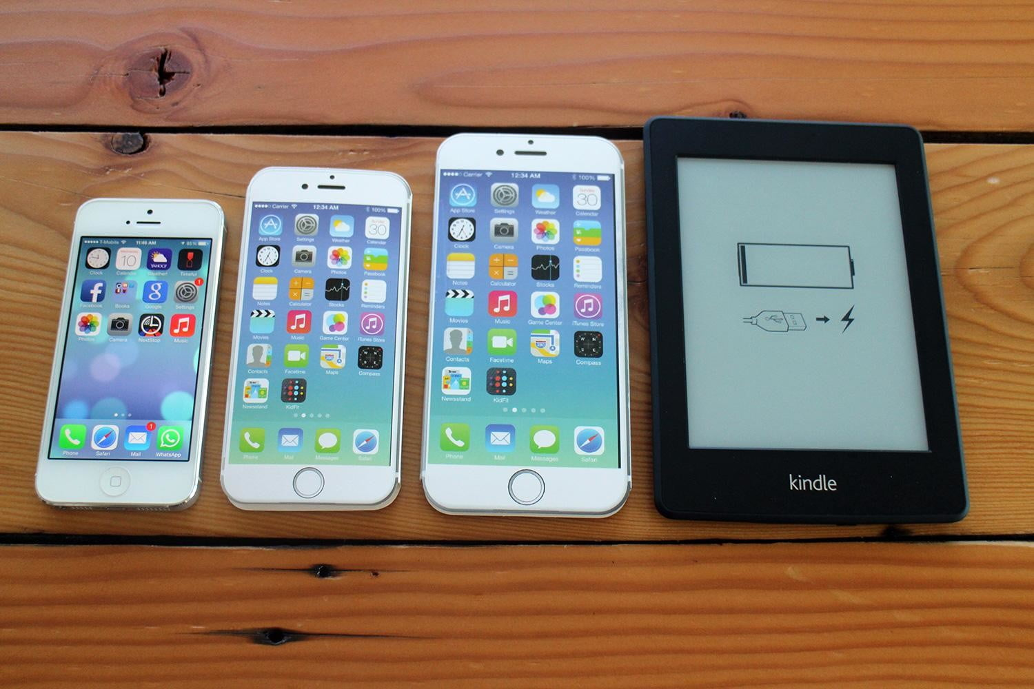 iPhone 5, iPhone 6, iPhone 6 Plus, and Kindle