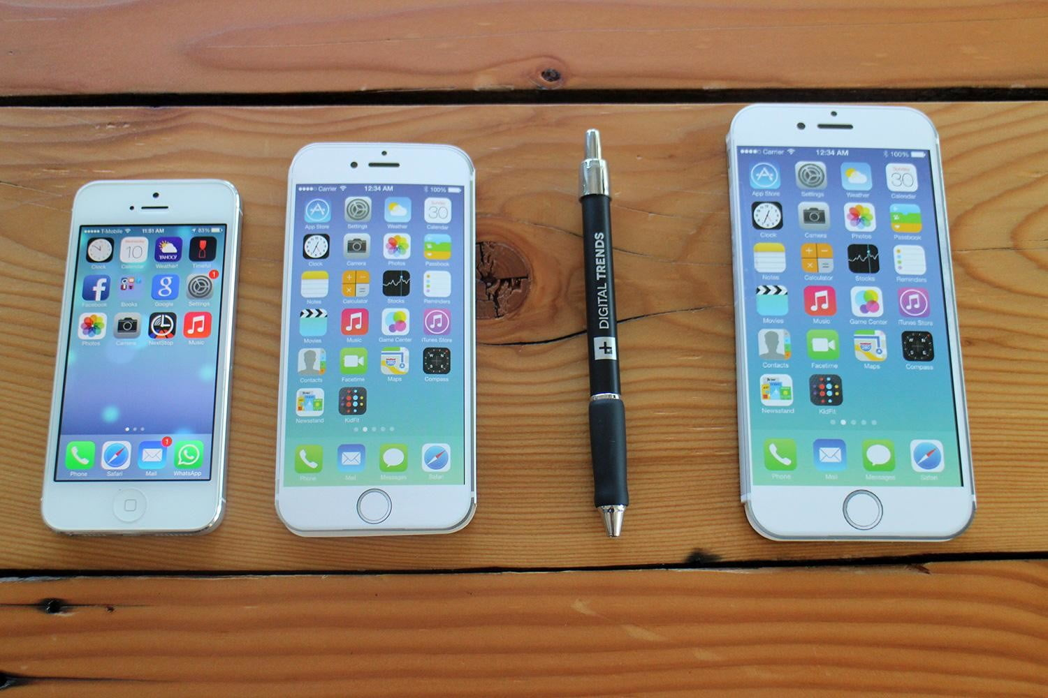 iPhone 5, iPhone 6, pen, and iPhone 6 Plus