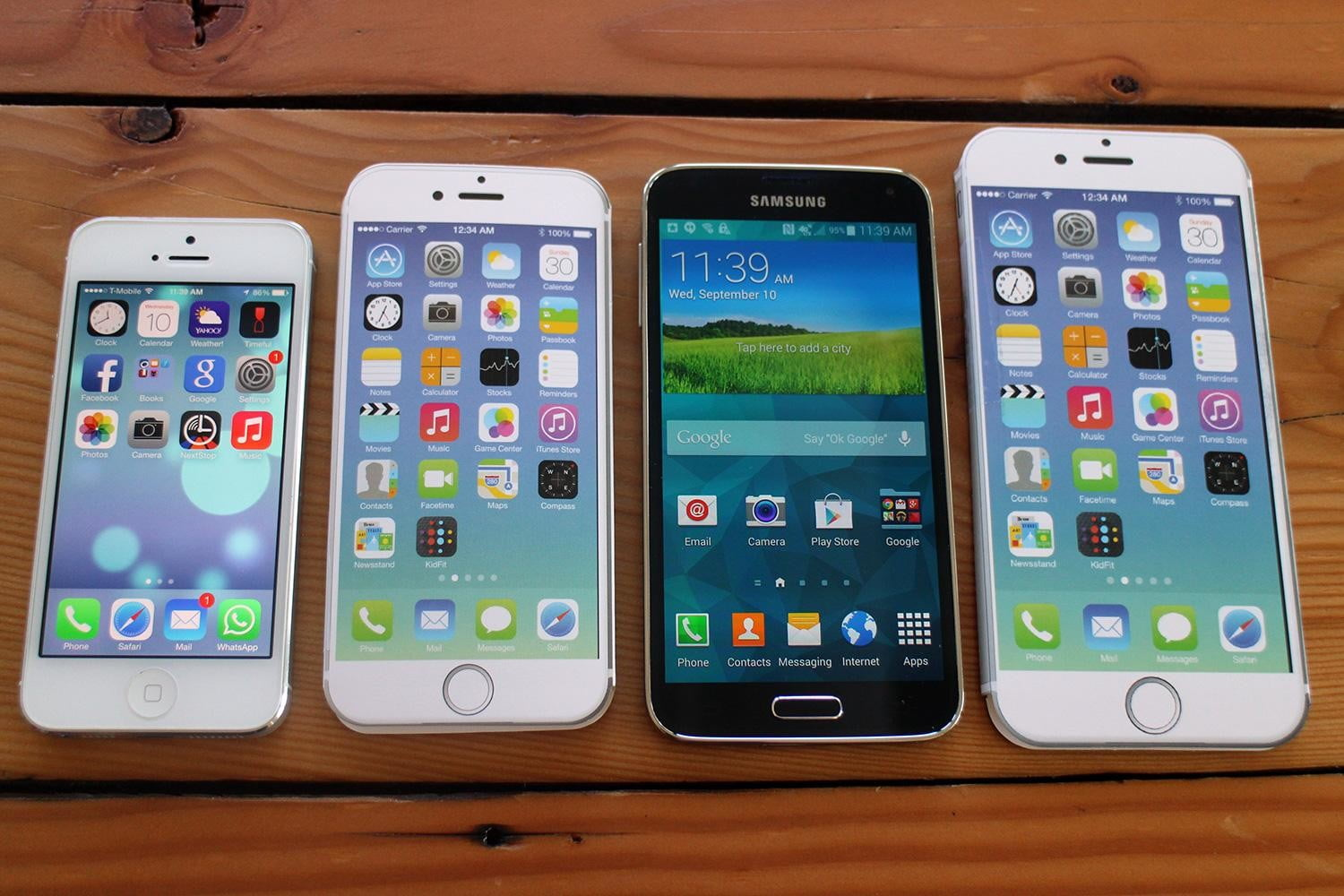 iPhone 5, iPhone 6, Samsung Galaxy S5, and iPhone 6 Plus