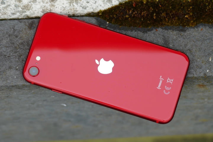 The back of a red iPhone SE 2020.