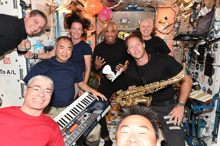 A birthday party on the ISS.