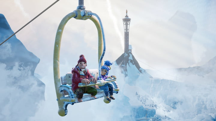 It Takes Two characters on a ski lift.