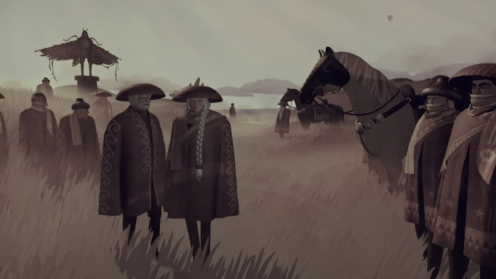 Characters next to horse in JETT: The Far Shore.