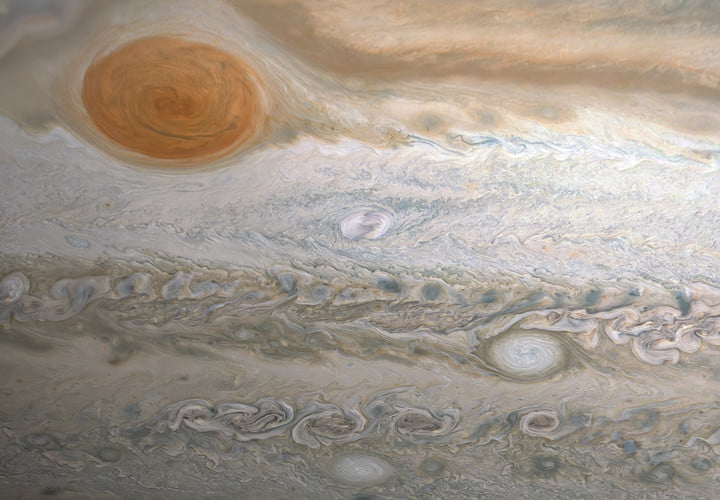 This image from NASA's Juno spacecraft captures several storms in Jupiter's southern hemisphere.