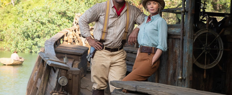 Dwayne Johnson and Emily Blunt in a scene from Disney's Jungle Cruise movie.