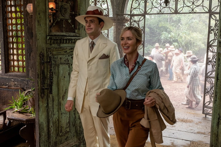 Jack Whitehall and Emily Blunt in a scene from Disney's Jungle Cruise movie.