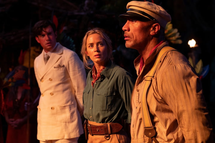 Jack Whitehall, Emily Blunt, and Dwayne Johnson in a scene from Disney's Jungle Cruise movie.