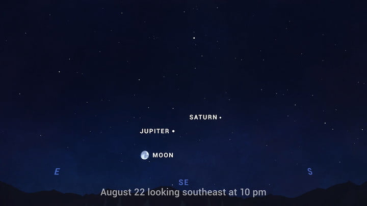 Jupiter and Saturn in the night sky.