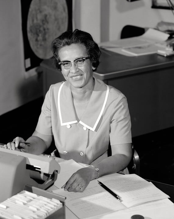 NASA research mathematician Katherine Johnson is photographed at her desk at Langley Research Center in 1966.