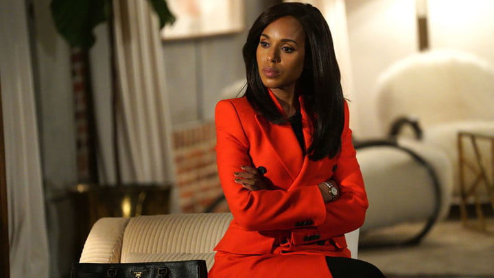 Kerry Washington in a red power suit in Scandal.