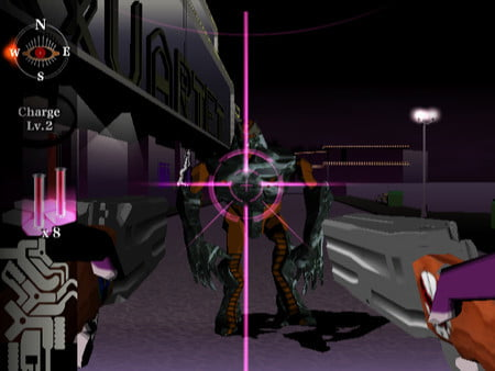 Killer7's hero aims at an enemy with two guns.