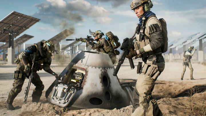 A soldier stands next to a downed satellite in Battlefield 2042 Hazard Zone.