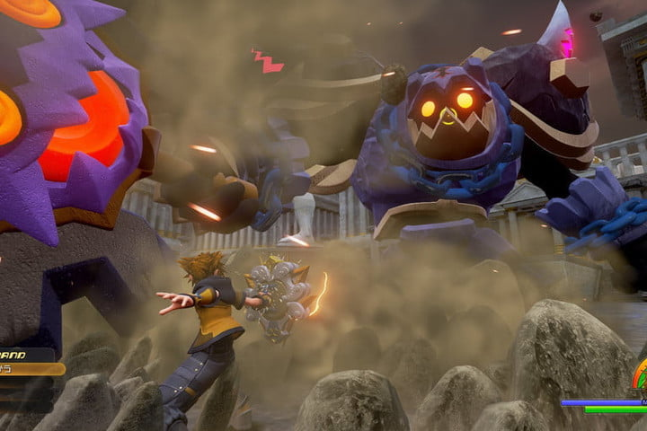 Sora fighting a giant heartless.
