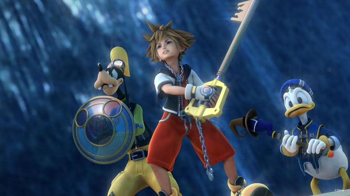 Sora, Donald, and Goofy in hallow bastion.