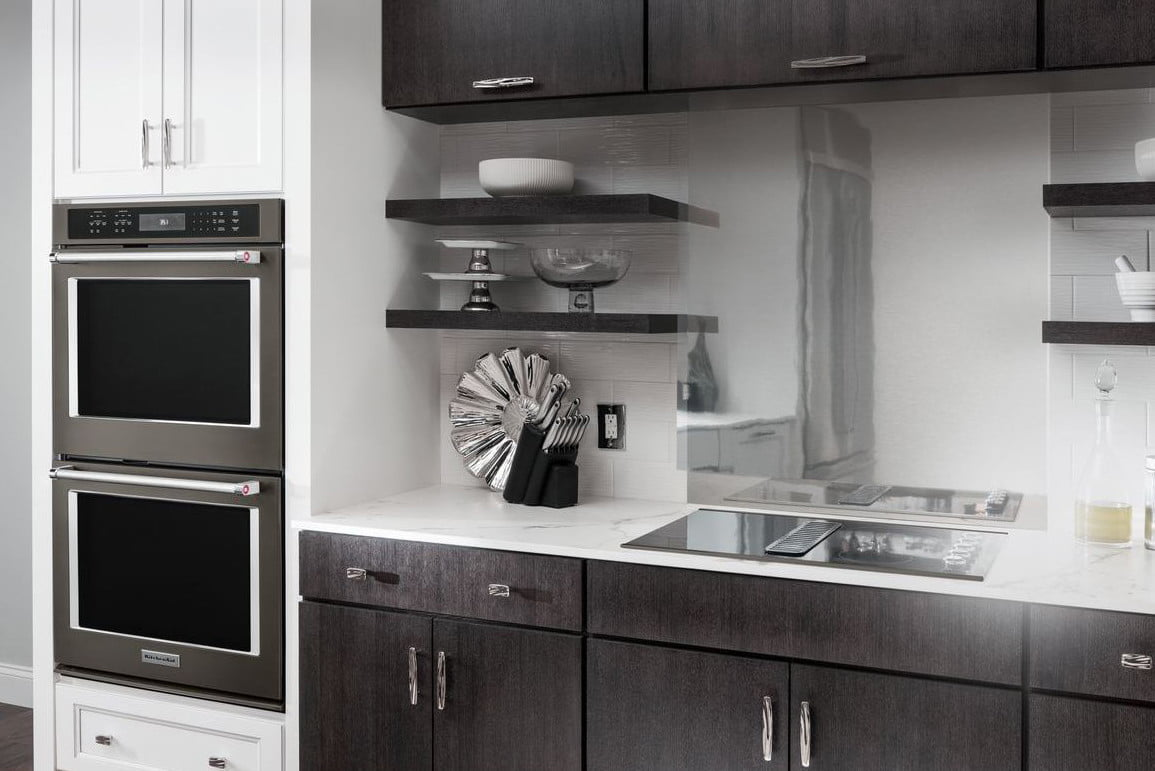 black stainless steel appliances trend kitchenaid double wall oven  3 600 8