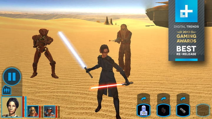 A Jedi holding a red and blue lightsaber in the desert.