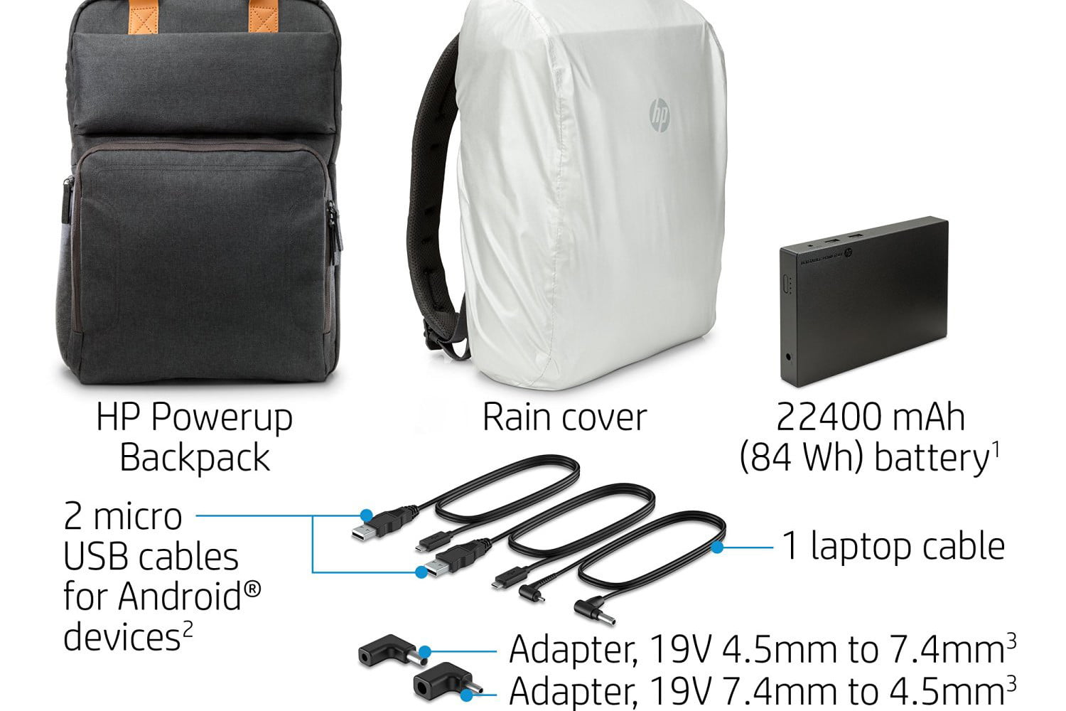 hp powerup backpack battery charge laptop phone tablet 5