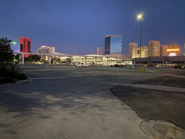 An empty parking lot at the LVCC