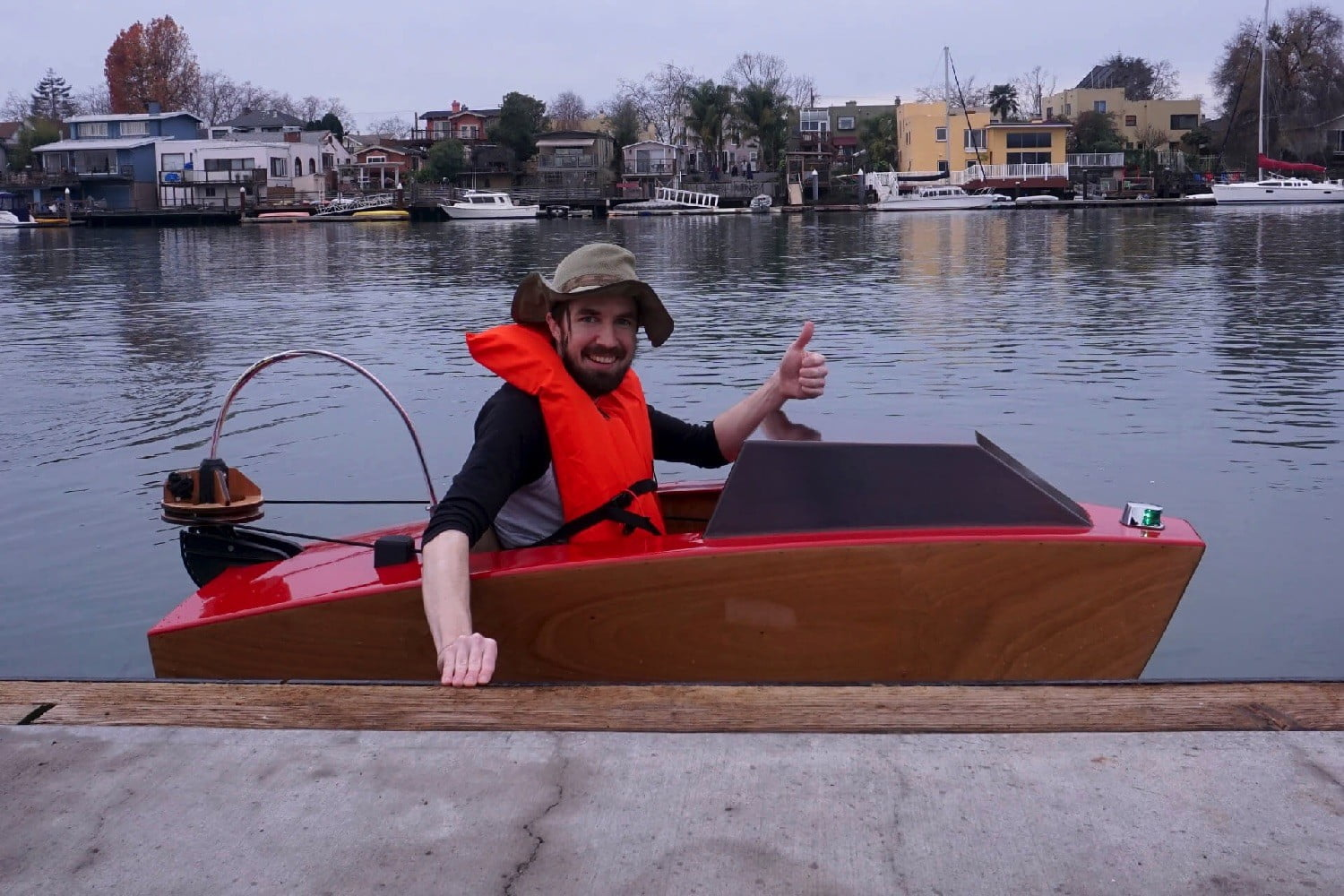 electric mini boat kit tulberg laser cut first launch josh thumbs up rapid whale