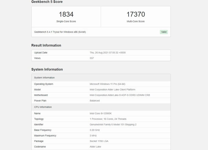 Geekbench results for an Intel Core i9-12900K in single-core and multi-core performance.