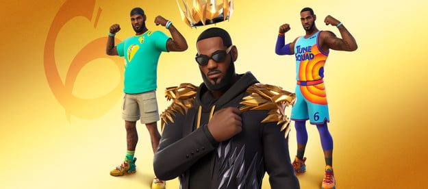 Lebron James in Fortnite with all of his costume variants.