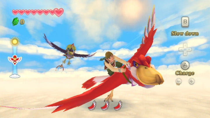 Link riding a red bird through the clouds.