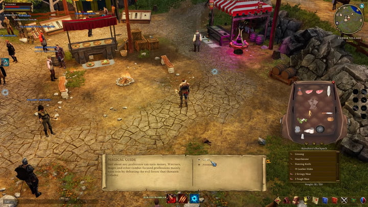 Character reading a magical guide in a town in Aria Online.