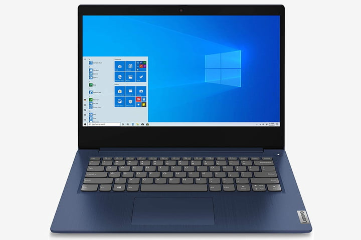 The Lenovo IdeaPad 3 laptop with the Windows home screen on the display.