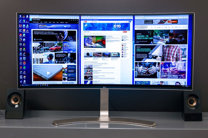 The LG 38UC99 monitor on a desk.