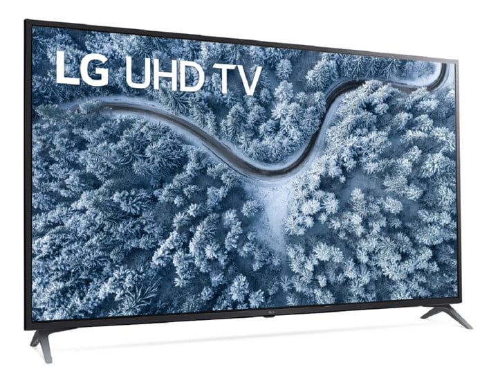 A 75-inch 4K TV from LG with a winter scene on the display.