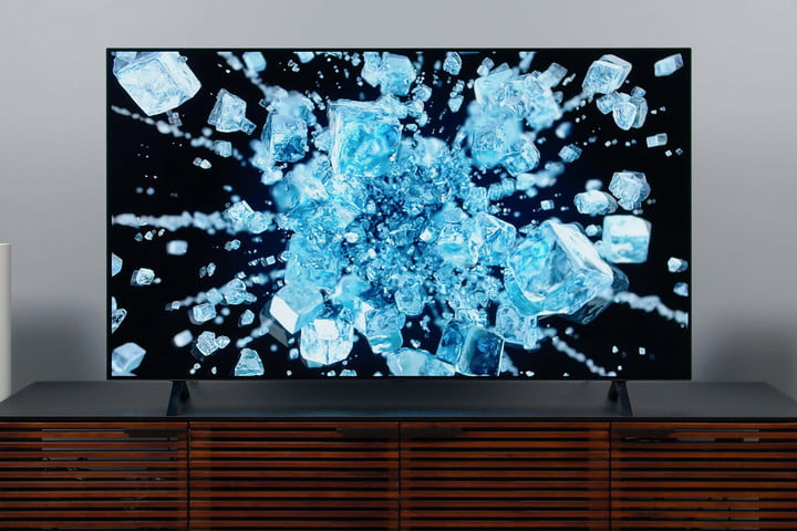 LG A1 OLED 4K HDR TV screen showing imagery of ice breaking.