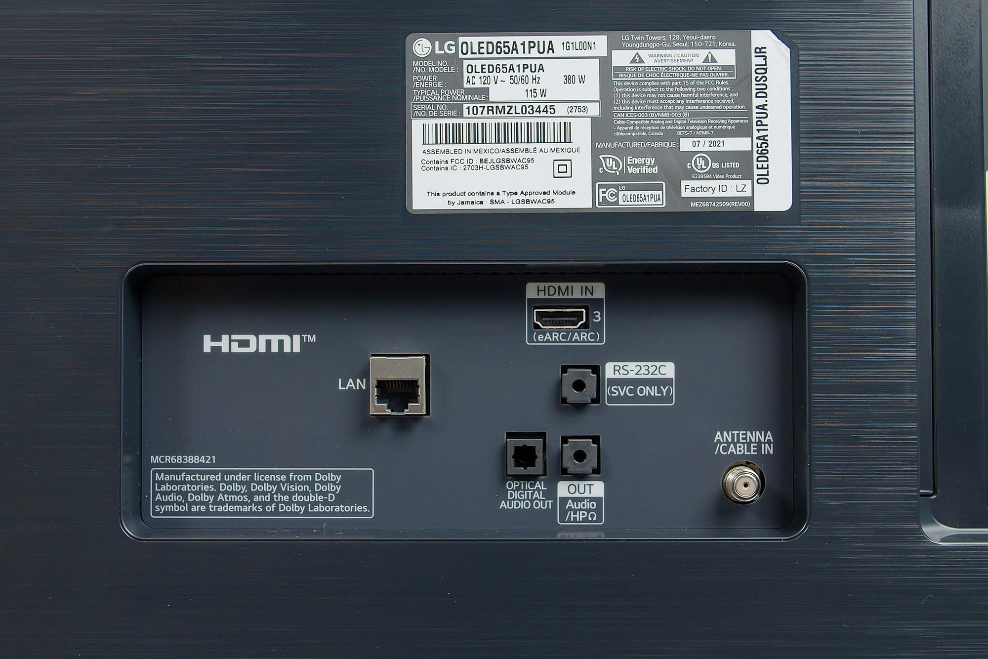 LG A1 OLED 4K HDR TV ports and plugins.