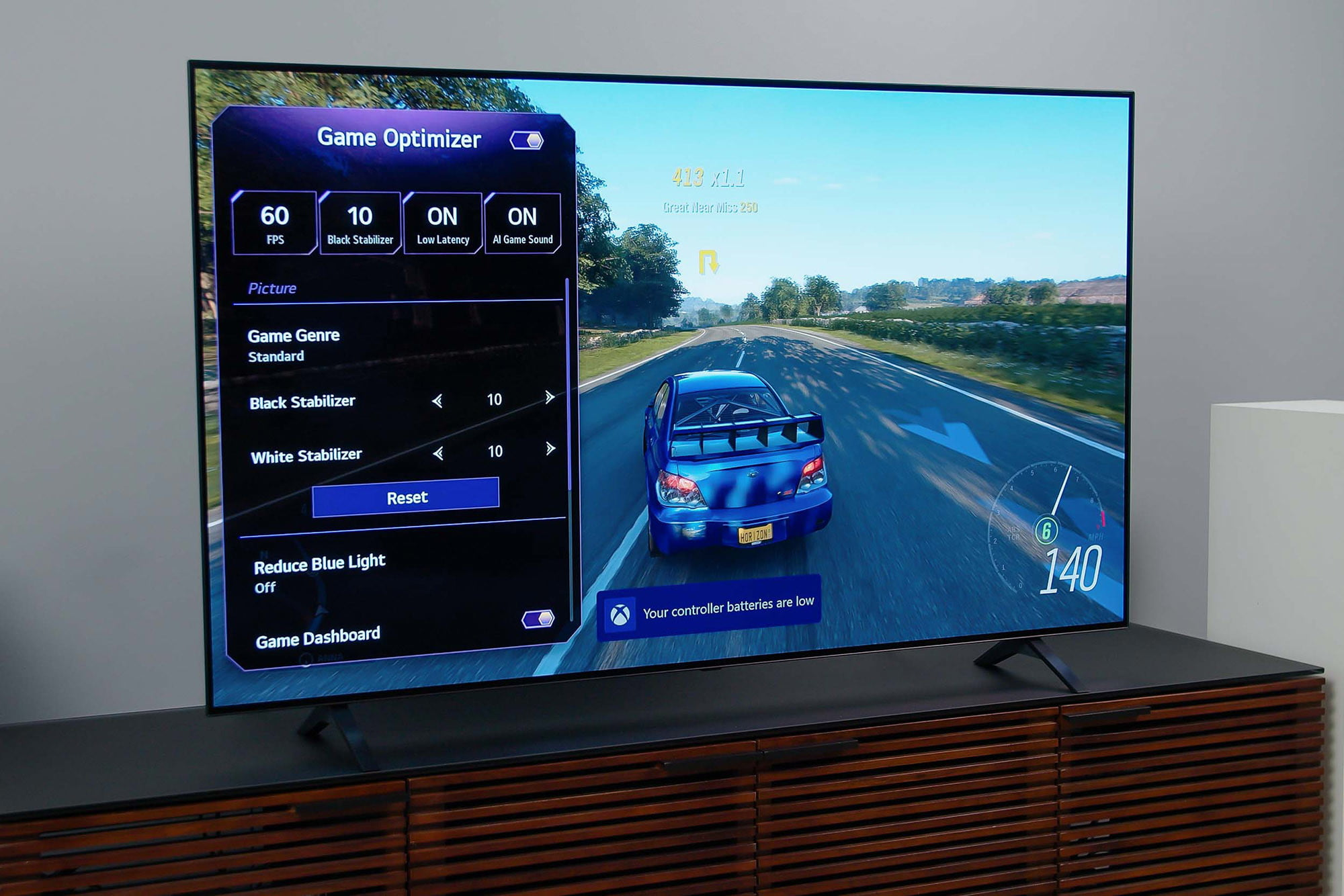 Game optimizer settings on the LG A1 OLED 4K HDR TV.