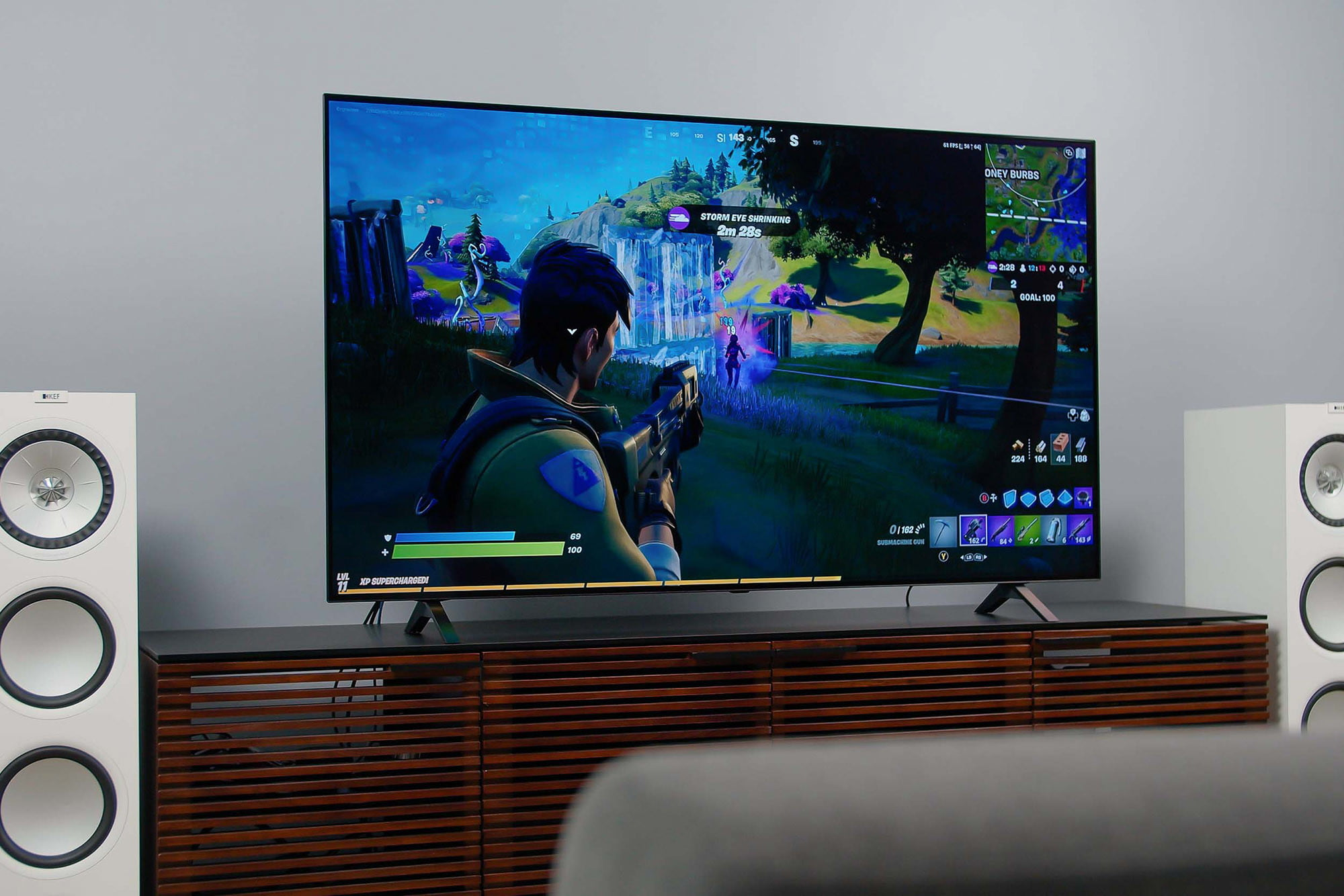 Fortnite video game being played on the LG A1 OLED 4K HDR TV.