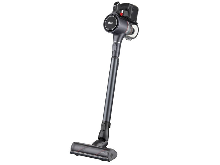 The cordless and bagless LG CordZero Stick Vacuum in an upright position.