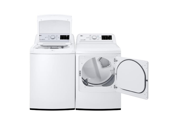 The LG DLE7100W next to an LG washer.