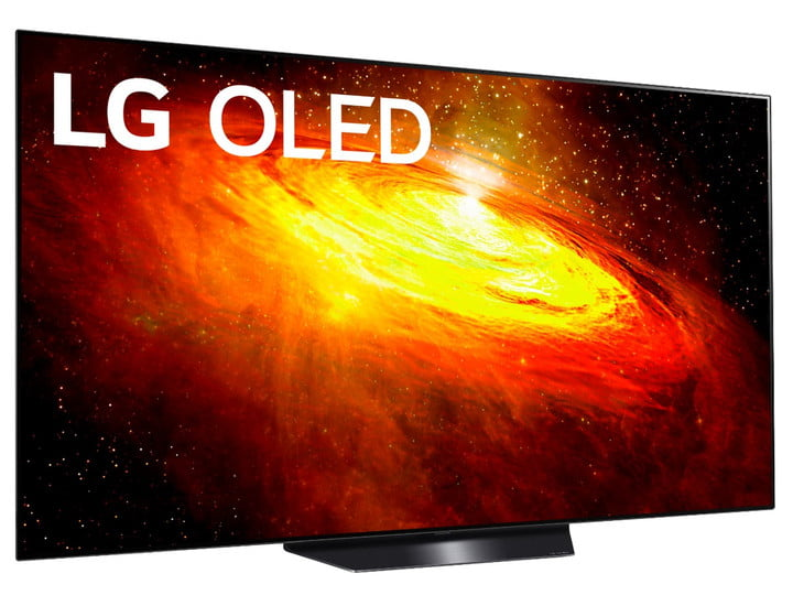 A 65-inch LG 4K OLED TV with a space scene on the screen.