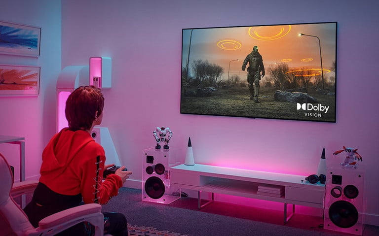 A gamer using one of LG's TVs.