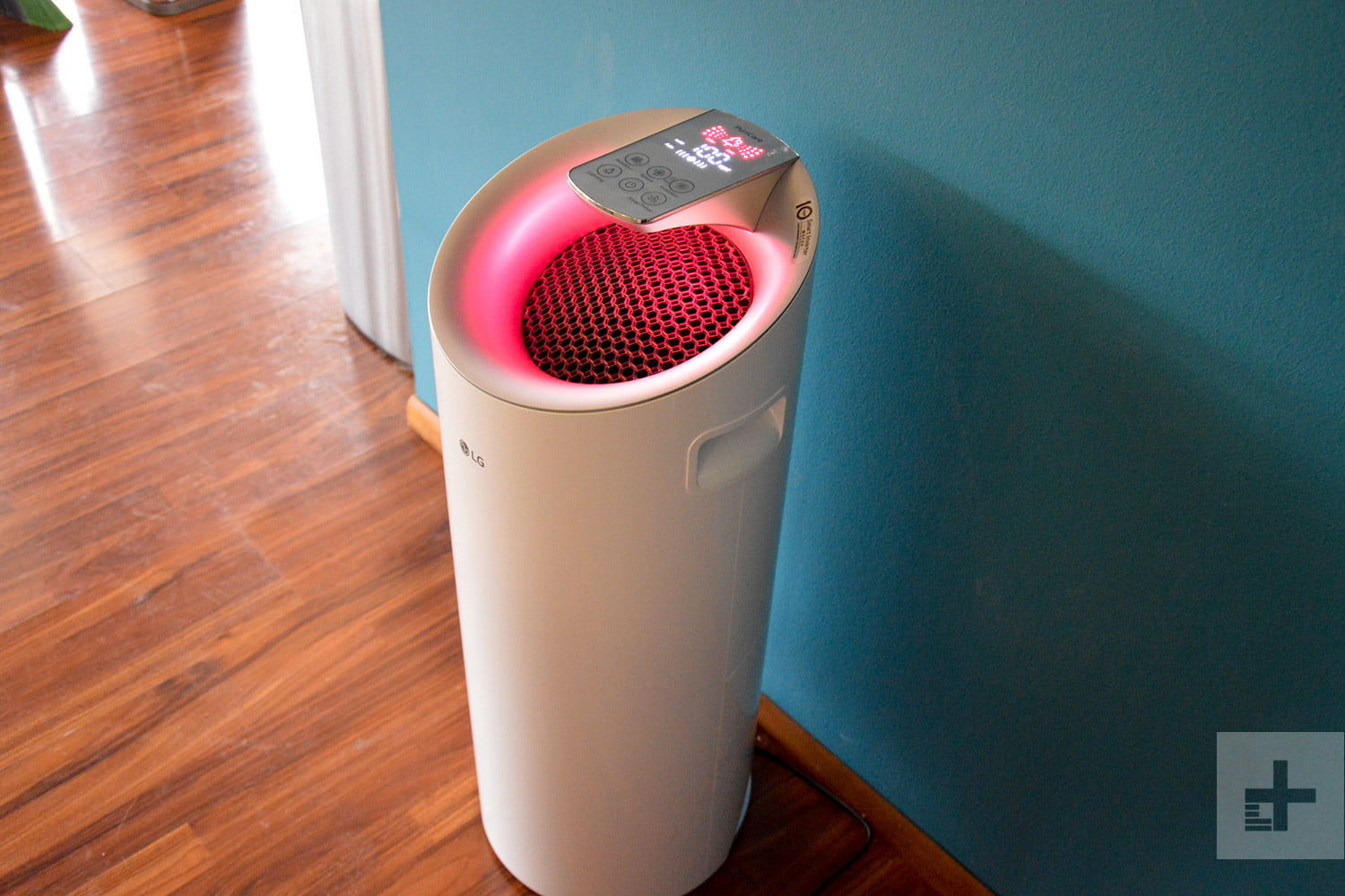 LG Puricare air purifier review pink body angle