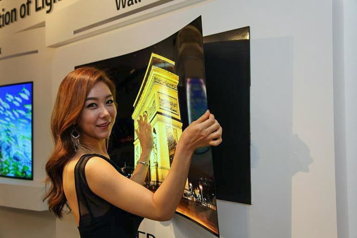 lg display 55 inch flat oled panel sticks to wall with magnet wallpaper