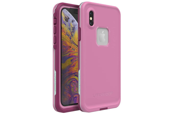 Photo shows the front and rear view of an iPhone XS in a mauve case from Lifeproof