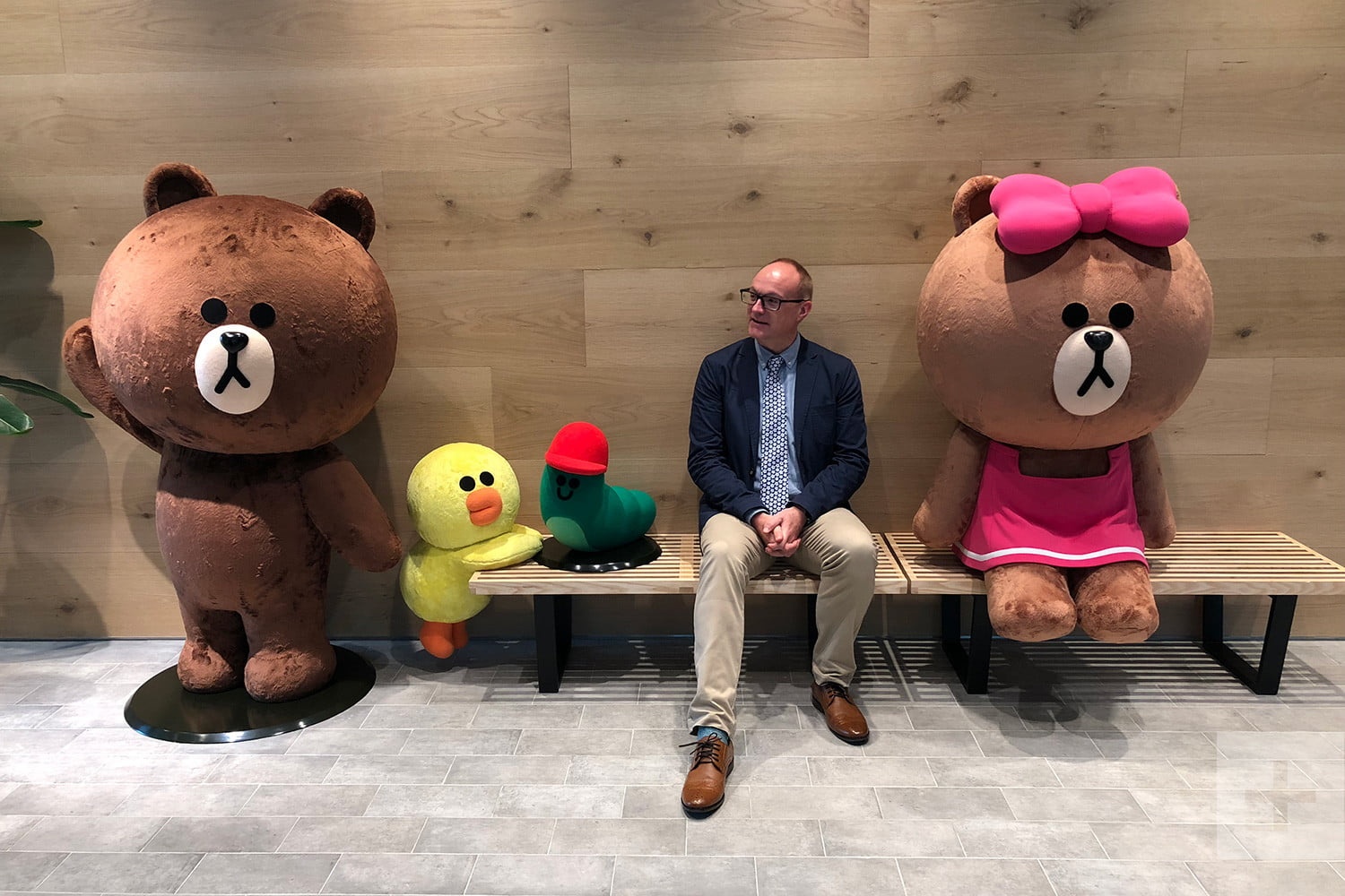 Line AI Andy and friends on bench