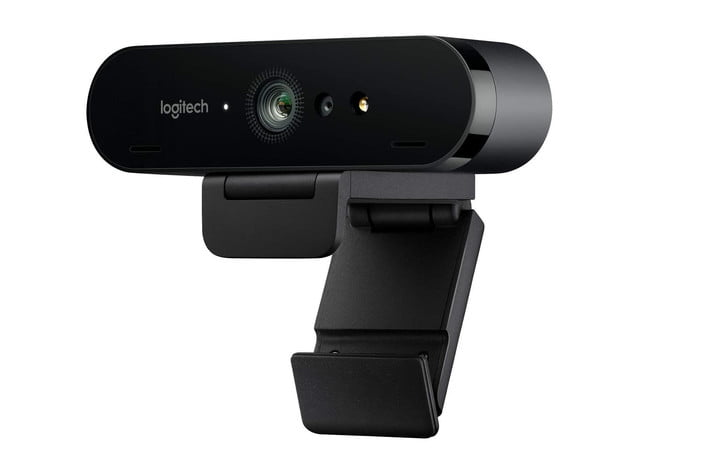 A close up view of a Logitech Brio Ultra HD webcam on a white background.